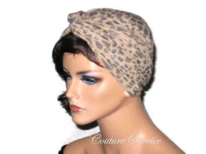 Handmade Tan Micro-Suede Twist Turban, Abstract, Navy - Couture Service  - 2