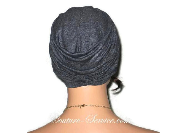 Handmade Black Twist Turban, Faux Denim Sparkle - Couture Service  - 3