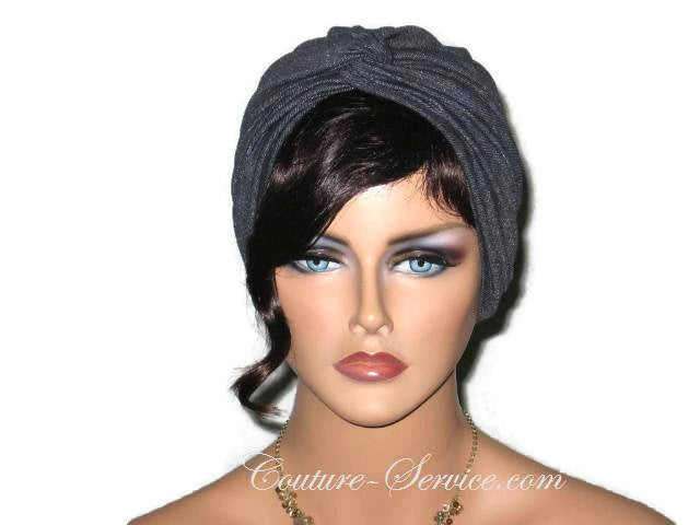 Handmade Black Twist Turban, Faux Denim Sparkle - Couture Service  - 1
