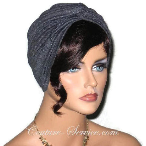 Handmade Black Twist Turban, Faux Denim Sparkle - Couture Service  - 2