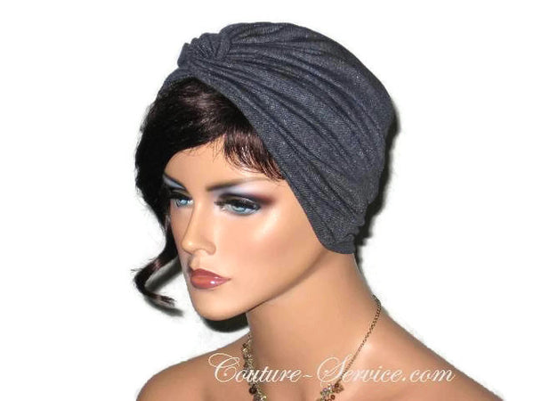 Handmade Black Twist Turban, Faux Denim Sparkle - Couture Service  - 4