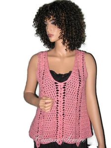 Handmade Crocheted Cotton Pullover Tank Top Coral - Couture Service  - 1