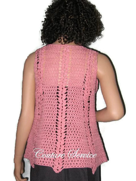 Handmade Crocheted Cotton Pullover Tank Top Coral - Couture Service  - 2