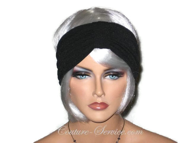 Handmade Black Knot Turban Headband, Textured - Couture Service  - 1