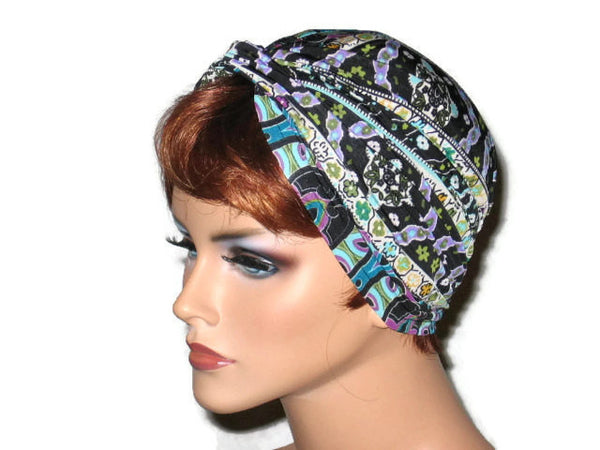 Handmade Black Twist Turban, Designer Stripe, Blue, Abstract - Couture Service  - 2