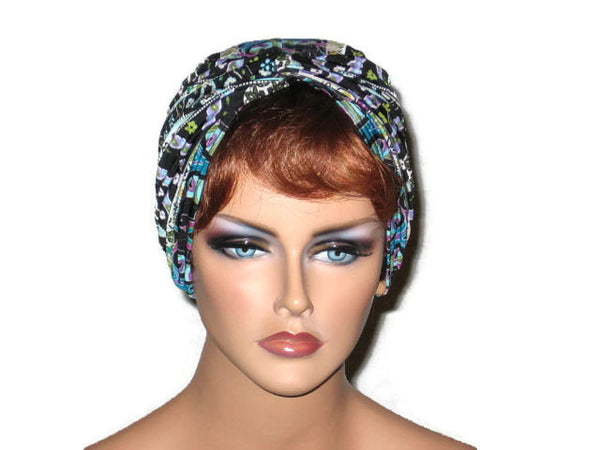 Handmade Black Twist Turban, Designer Stripe, Blue, Abstract - Couture Service  - 1