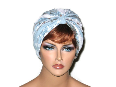 Handmade Blue and White Turban, Lace, Single Knot - Couture Service  - 1