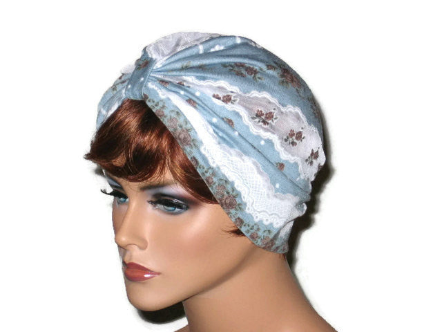 Handmade Blue and White Turban, Lace, Single Knot - Couture Service  - 2