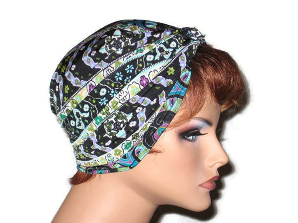 Handmade Black Twist Turban, Designer Stripe, Blue, Abstract - Couture Service  - 4