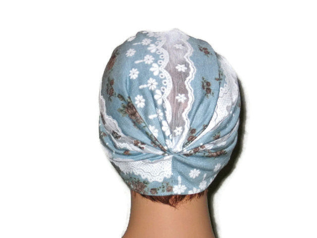 Handmade Blue and White Turban, Lace, Single Knot - Couture Service  - 3