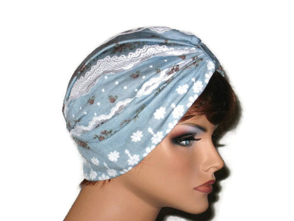 Handmade Blue and White Turban, Lace, Single Knot - Couture Service  - 4