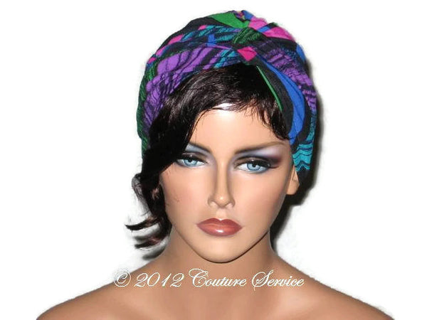 Handmade Blue Twist Turban, Abstract, Fuschia - Couture Service  - 1