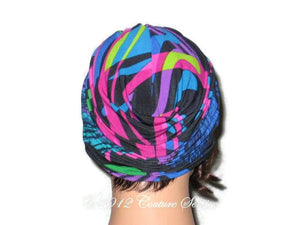 Handmade Blue Twist Turban, Abstract, Fuschia - Couture Service  - 3