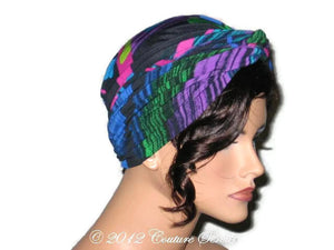 Handmade Blue Twist Turban, Abstract, Fuschia - Couture Service  - 4