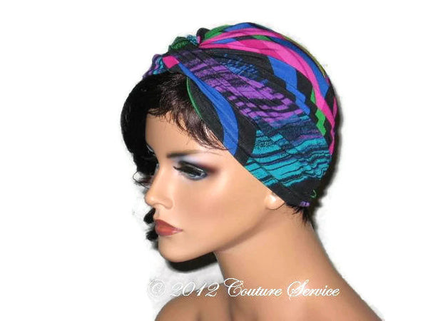 Handmade Blue Twist Turban, Abstract, Fuschia - Couture Service  - 2