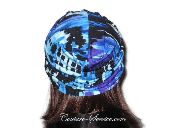 Handmade Blue Twist Turban, Abstract, Painterly - Couture Service  - 2