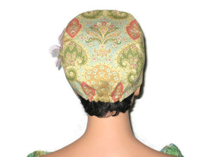 Handmade Lined Yellow Cotton Cloche, with Removable Floral Pin - Couture Service  - 4