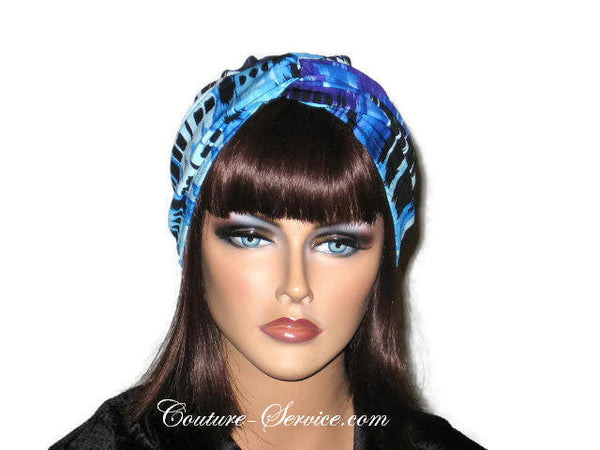 Handmade Blue Twist Turban, Abstract, Painterly - Couture Service  - 1