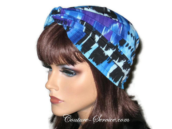 Handmade Blue Twist Turban, Abstract, Painterly - Couture Service  - 3