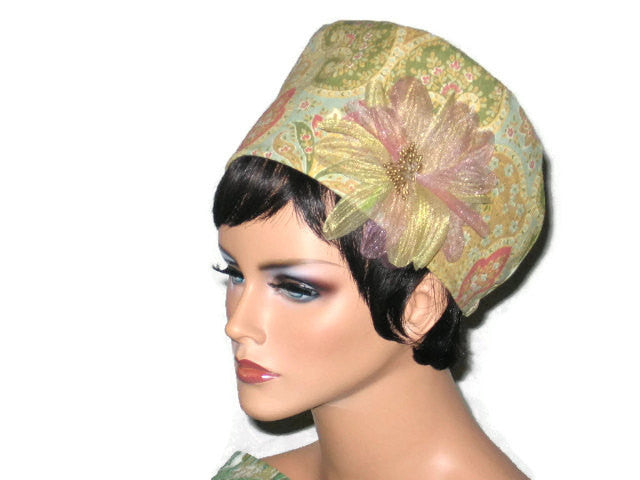 Handmade Lined Yellow Cotton Cloche, with Removable Floral Pin - Couture Service  - 1