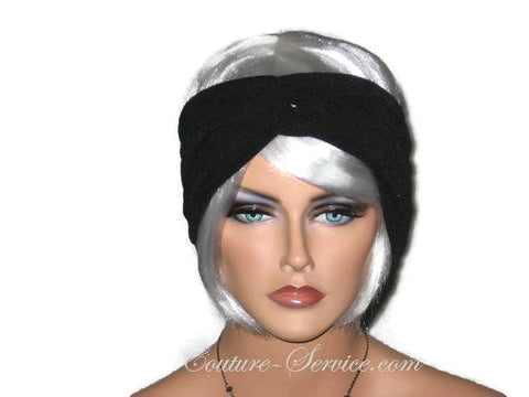 Handmade Black Bandeau Headband Turban, Textured - Couture Service  - 1