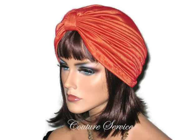 Handmade Orange Double Knot Turban, Iridescent - Couture Service  - 2