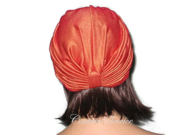Handmade Orange Double Knot Turban, Iridescent - Couture Service  - 4