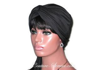 Handmade Black Twist Turban, Lined, with Ties - Couture Service  - 2