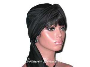 Handmade Black Twist Turban, Lined, with Ties - Couture Service  - 3