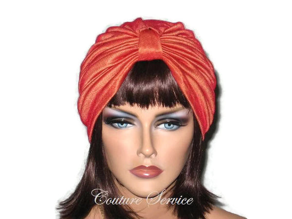 Handmade Orange Double Knot Turban, Iridescent - Couture Service  - 1