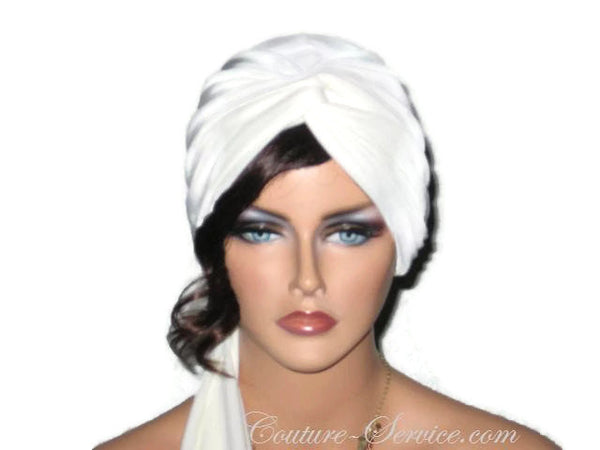 Handmade Cream Twist Turban, Lined, with Ties - Couture Service  - 1