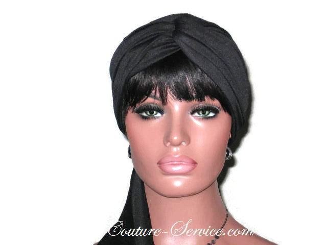 Handmade Black Twist Turban, Lined, with Ties - Couture Service  - 1
