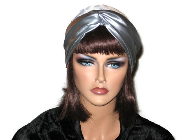Handmade Silver Twist Turban, Abstract, Blue, Faux Leather - Couture Service  - 1