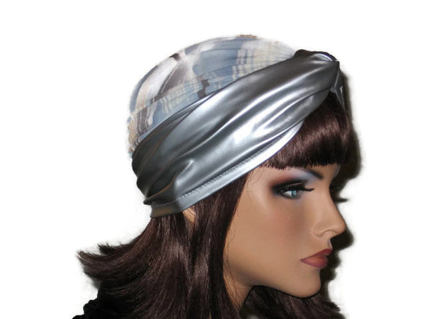 Handmade Silver Twist Turban, Abstract, Blue, Faux Leather - Couture Service  - 4