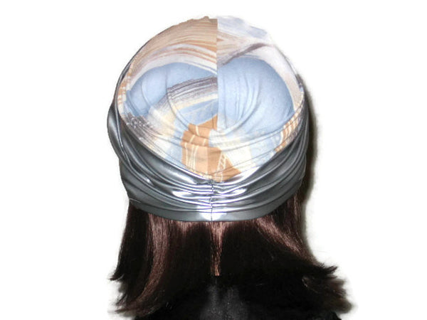 Handmade Silver Twist Turban, Abstract, Blue, Faux Leather - Couture Service  - 3