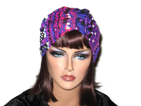 Handmade Purple Turban, Center Shirred, Abstract - Couture Service  - 1