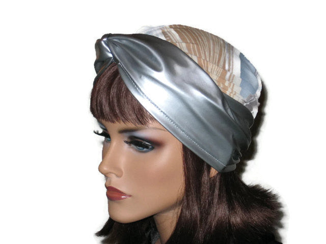 Handmade Silver Twist Turban, Abstract, Blue, Faux Leather - Couture Service  - 2