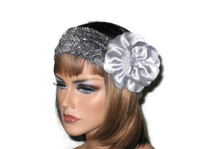 Handmade Grey Turban Knot Headband, Animal Print, Snakeskin - Couture Service  - 1