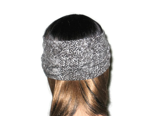 Handmade Grey Turban Knot Headband, Animal Print, Snakeskin - Couture Service  - 4