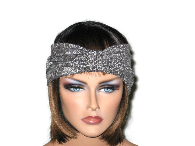 Handmade Grey Turban Knot Headband, Animal Print, Snakeskin - Couture Service  - 2
