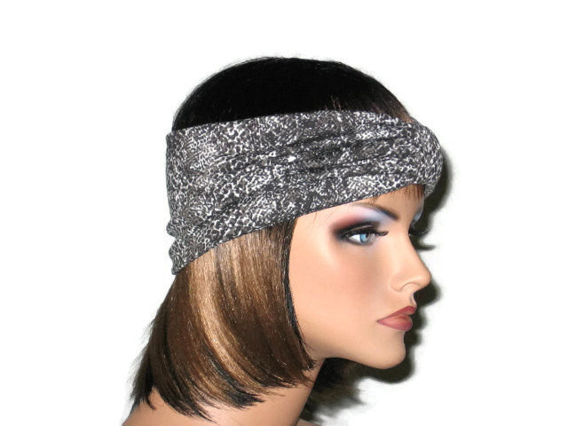 Handmade Grey Turban Knot Headband, Animal Print, Snakeskin - Couture Service  - 3