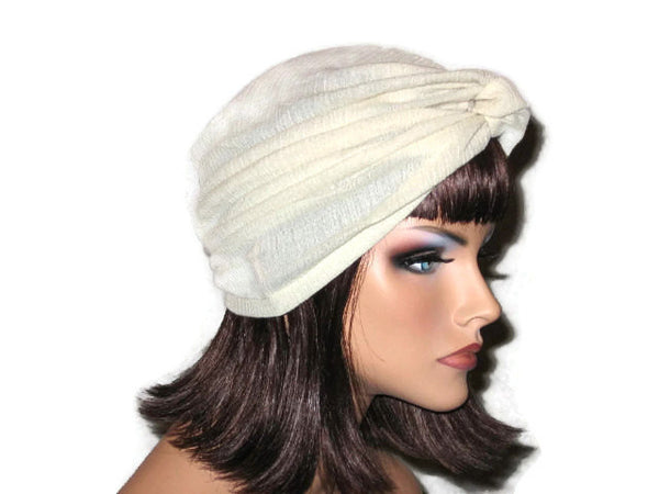 Handmade Cream Twist Turban, Cotton, Gauze - Couture Service  - 4