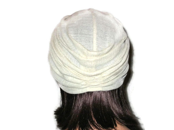 Handmade Cream Twist Turban, Cotton, Gauze - Couture Service  - 3