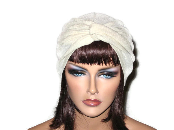 Handmade Cream Twist Turban, Cotton, Gauze - Couture Service  - 2