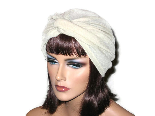 Handmade Cream Twist Turban, Cotton, Gauze - Couture Service  - 1
