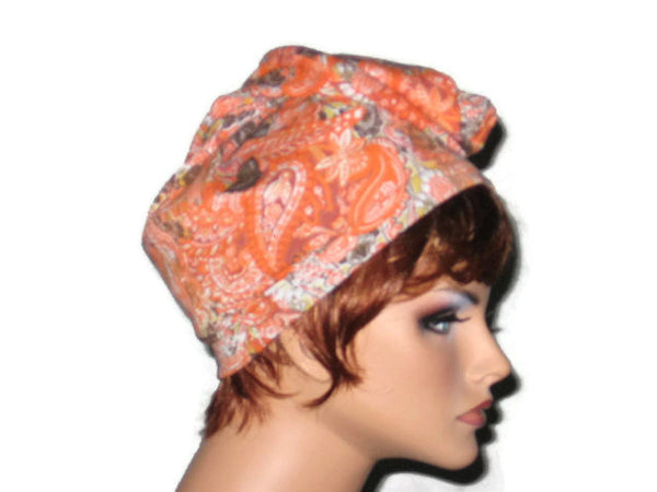 Handmade Orange Draped Turban, Rayon Paisley - Couture Service  - 3