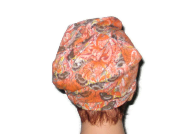 Handmade Orange Draped Turban, Rayon Paisley - Couture Service  - 4