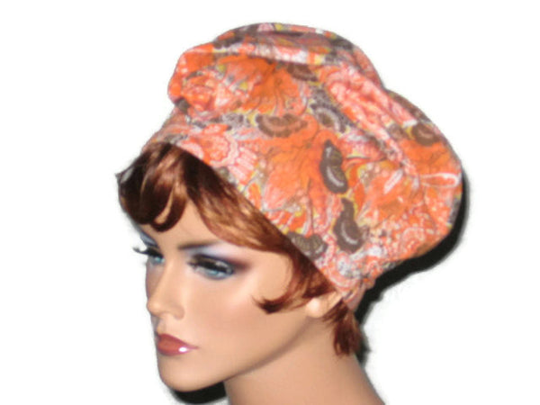 Handmade Orange Draped Turban, Rayon Paisley - Couture Service  - 1