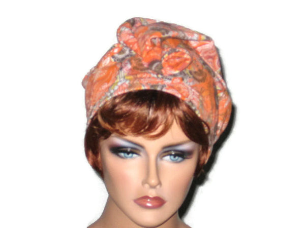 Handmade Orange Draped Turban, Rayon Paisley - Couture Service  - 2
