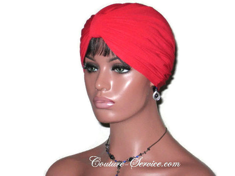Handmade Red Double Knot Turban, Cardinal - Couture Service  - 1